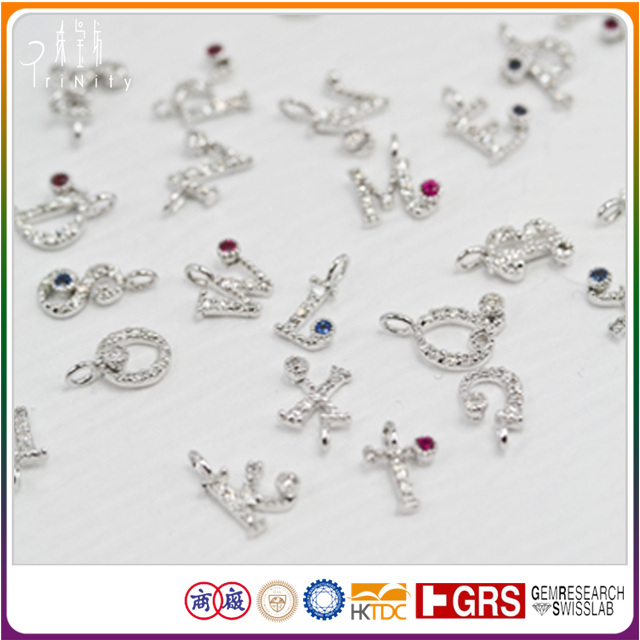 S Alphabet Shape Pendant Letter Charms Design with Real Diamond and Gemstone