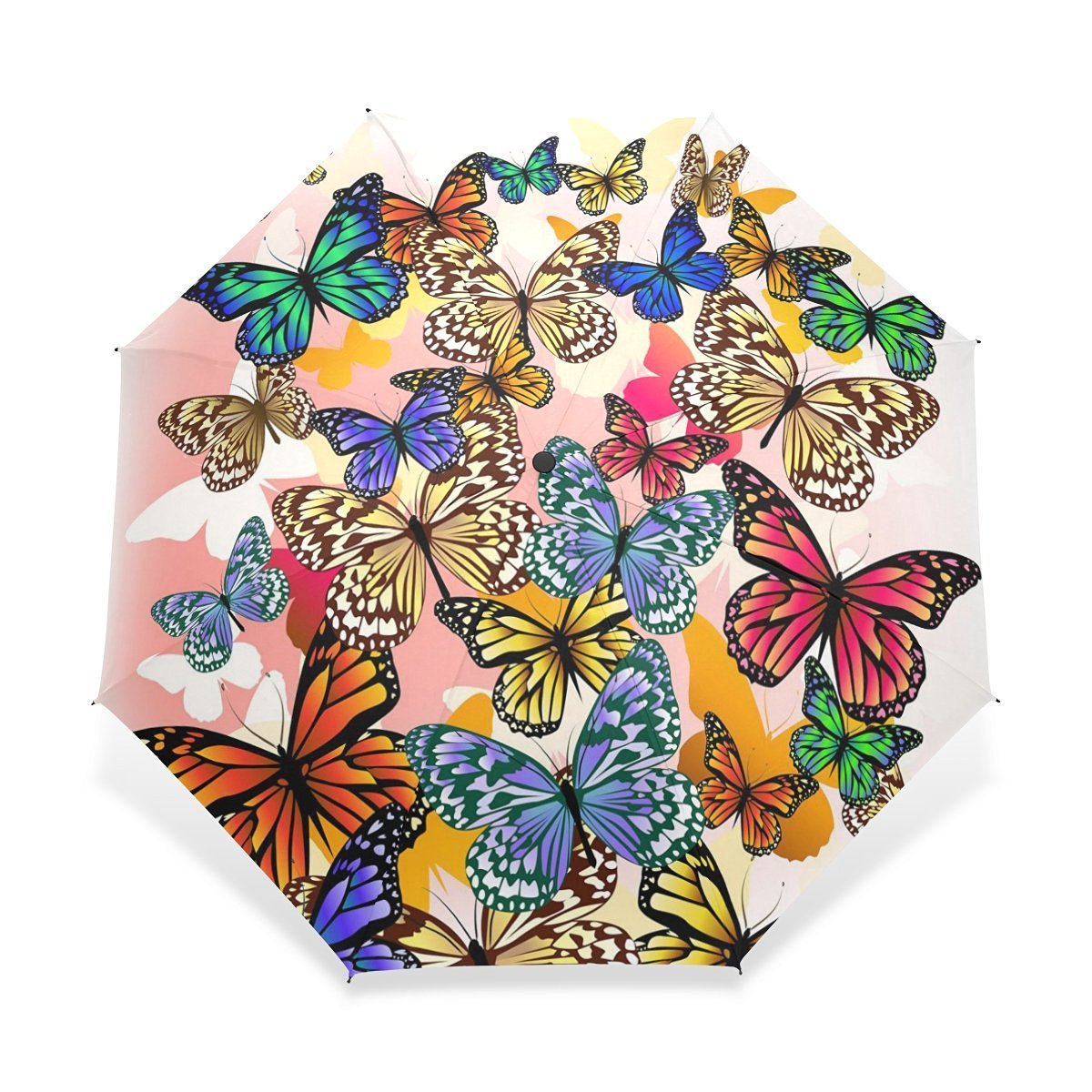 094078958 Get Quotations · ZOEO Rain Folding Umbrella Windproof,Colorful Cartoon  Butterfly,Foldable Compact Travel Umbrella