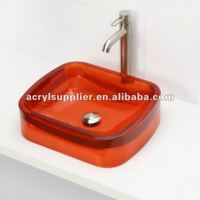 clear colorful bathroom sink transparent acrylic resin