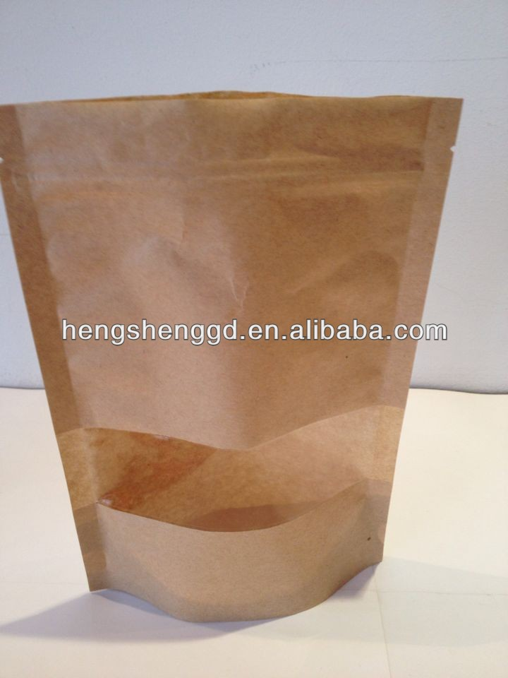 stand up kraft paper bag with clear window with zipper