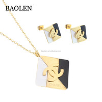 Latest Style High Quality Rectangle Square Shape Ladies Bridesmaid Stainless Steel Jewelry Set