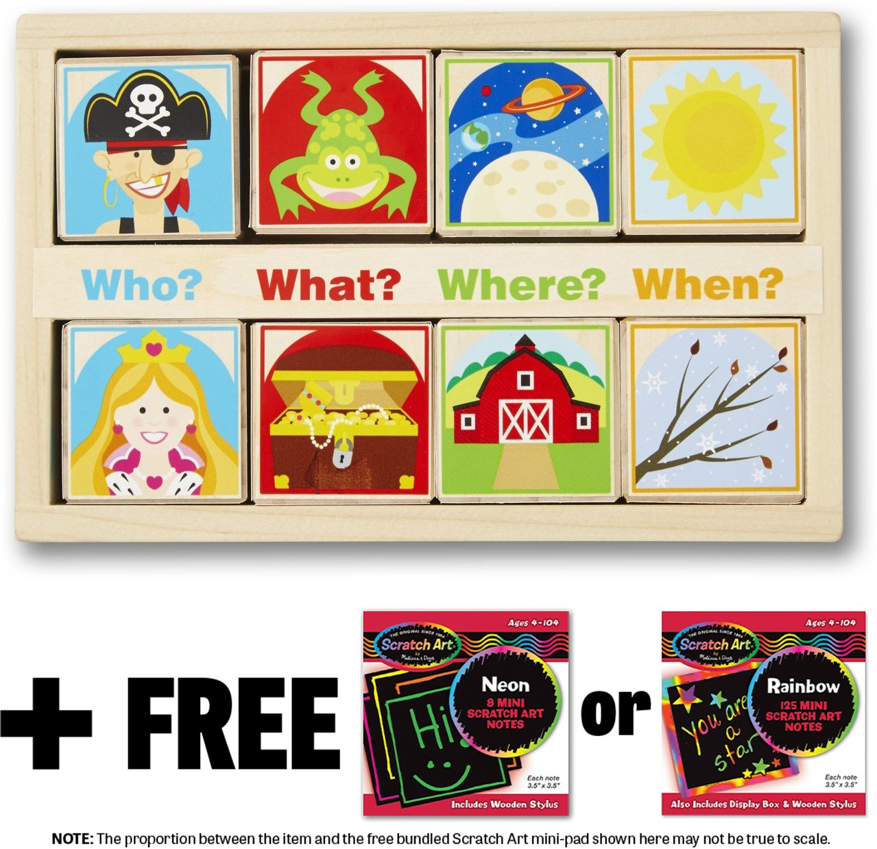 Wooden Story Blocks+ FREE Melissa & Doug Scratch Art Mini-Pad Bundle [90490]
