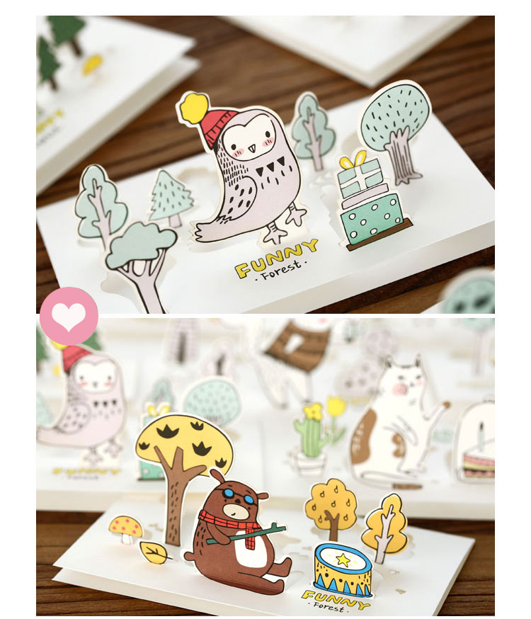2018 3d kawaii cute animal owl lion Kitty DIY child thanks card Paper Greeting cards wholesale