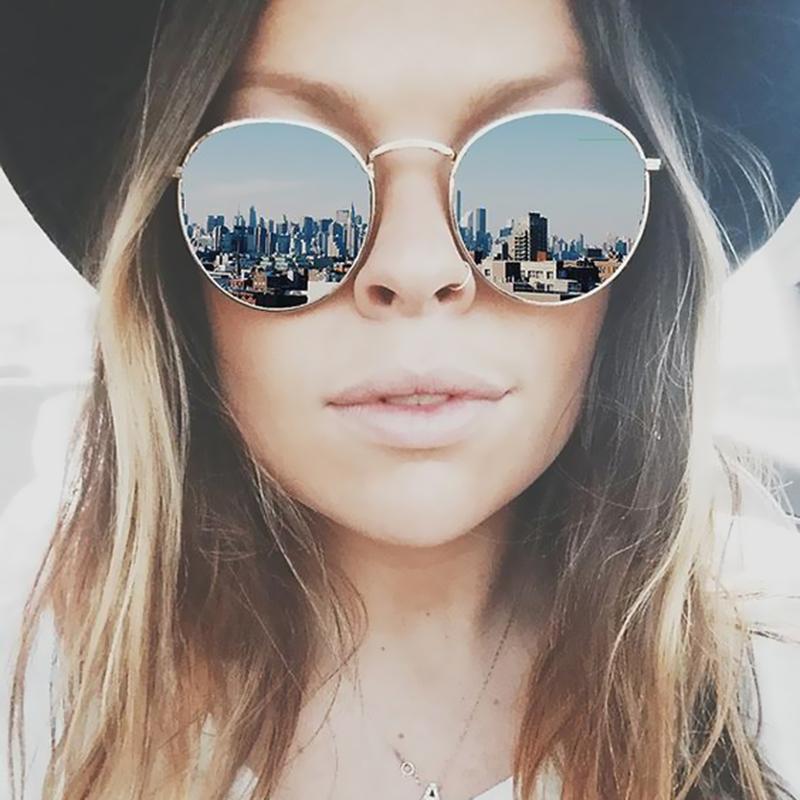 Rodada Óculos De Sol Das Mulheres Clássico Subiu de Ouro Da Moda Marca  Designer Steampunk Óculos 00b72d6be5