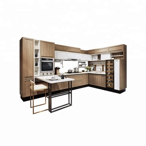 OPPEIN vinyl wrapped brown natural wood kitchen cabinet doors