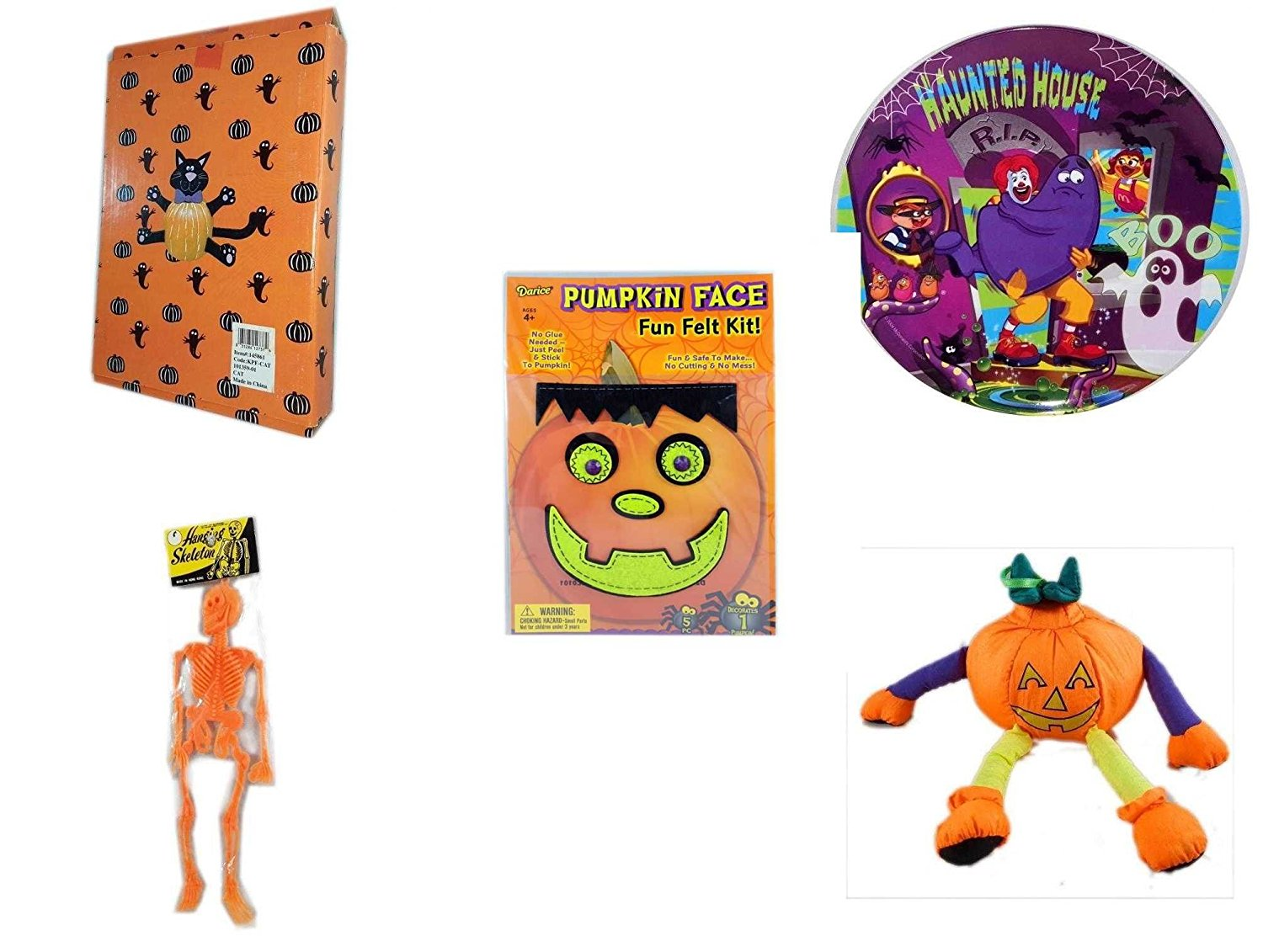 Halloween Fun Gift Bundle [5 piece] - Halloween Cat Pumpkin Push In 5 Piece Head Arms Legs - McDonald's Haunted House, RIP, Boo Halloween Plate - Darice Pumpkin Face Fun Felt Kit - Frankenstein - Ha