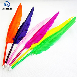 Novelty promotional logo print cheap feather quill ball pen