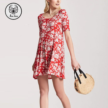 Clothing Manufacturing Womens Hotest Short Sleeve Ladies Casual Floral Swing Dress