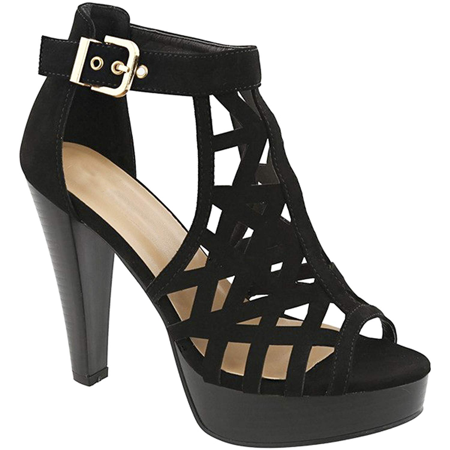 Women's Peep Toe Ankle Strap Cut Out Platform Chunky High Heel