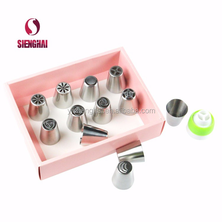 Cake decorating Stainless steel Russian piping tips Pastry icing nozzles with color box