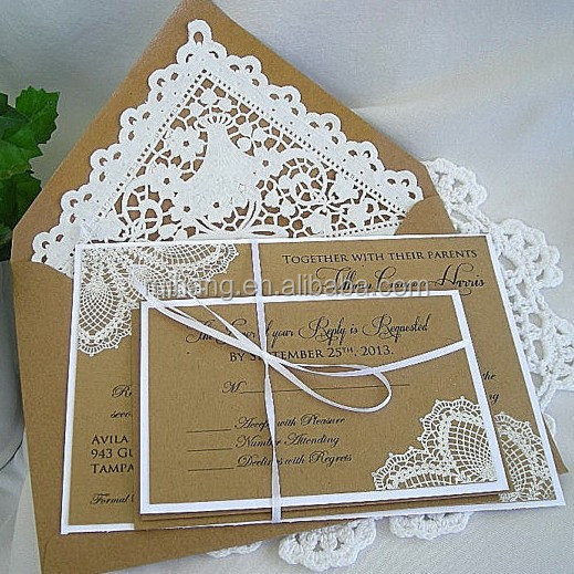 Wedding Invitation Kraft White Doily Lace Rustic Vintage Embossed Elegant Shabby Chic Any Color Customizable