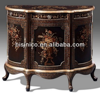 European Antique Hand Painted Console Cabinet Sideboard Storage With Bouquet Motif Home