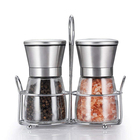 Manual mini kitchen ceramic bottle salt pepper mill grinder set with metal stand