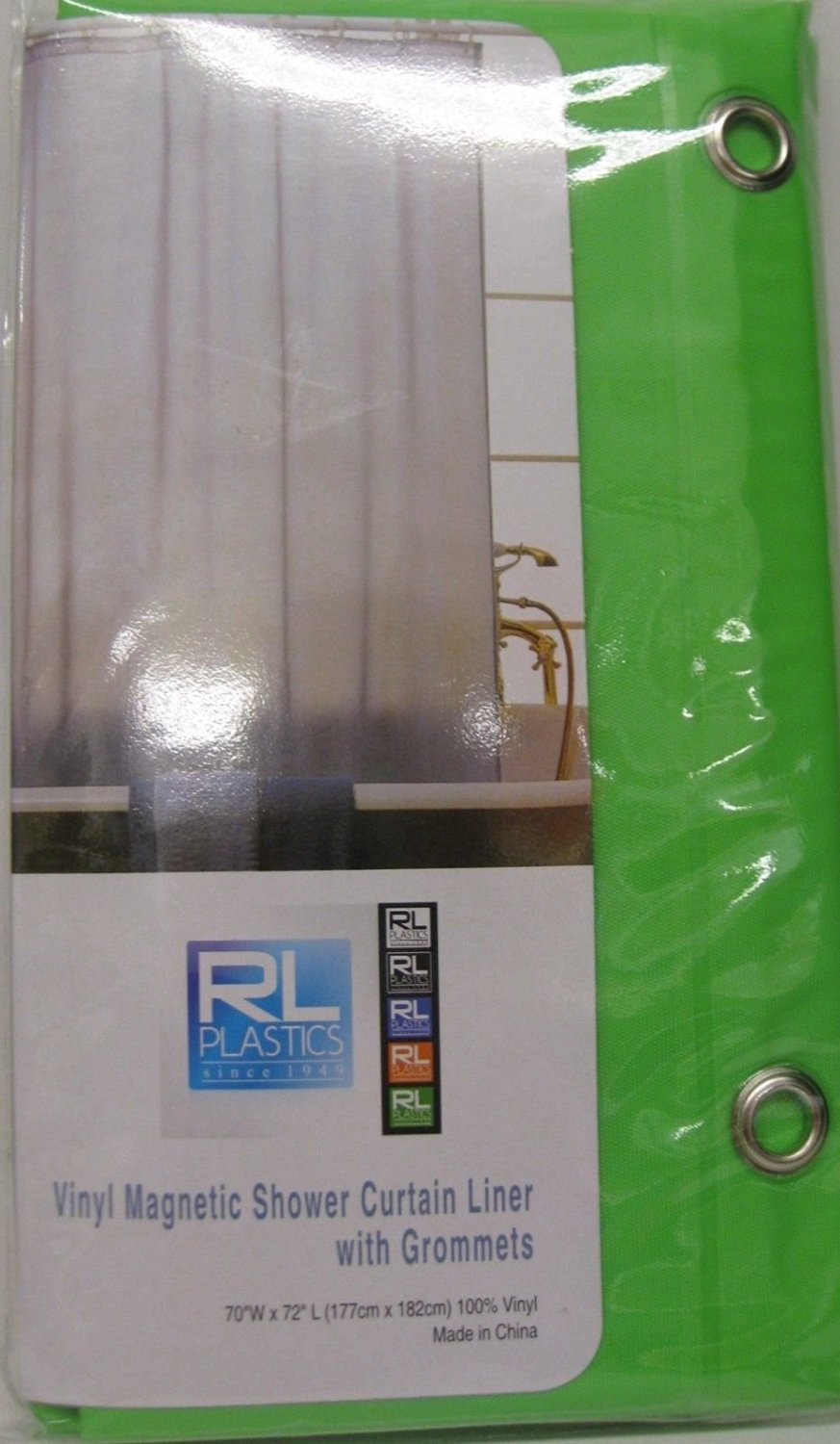 Home&Bath Collection Vinyl Magnetic Shower Curtain Liner with Grommets - 70 x 72 - (Green)