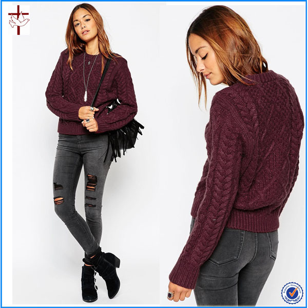 2015 Ladies Cable Sweater Knitting Patternscotton Cable Knit