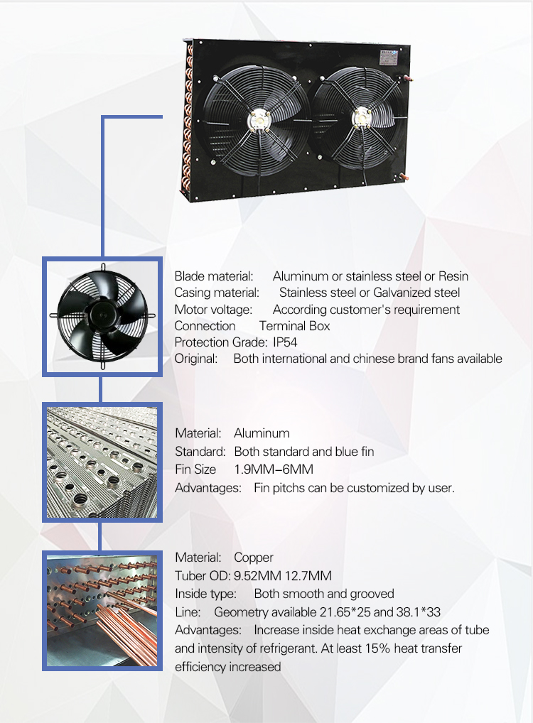 Competitive Price Refrigeration Equipment Industrial Air Cooled Copper R404a  R134a Refrigerant Condenser  For Cold Storage Room