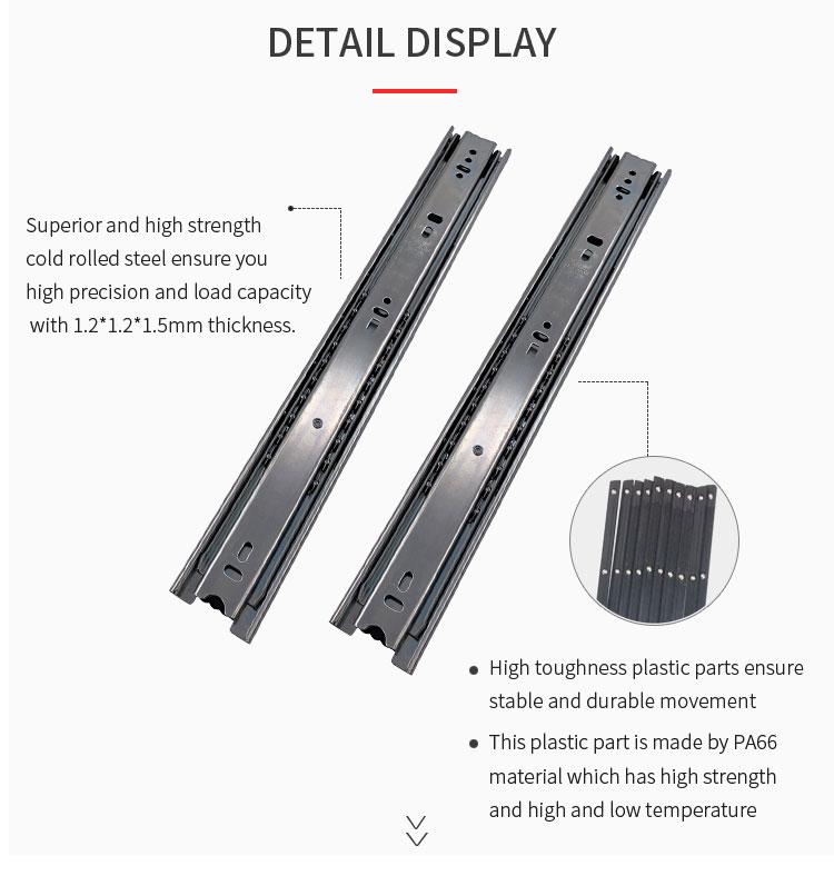 "24/"" Full Extension 100 LB Capacity Drawer Slides Steel Roller Ball 3 Section"