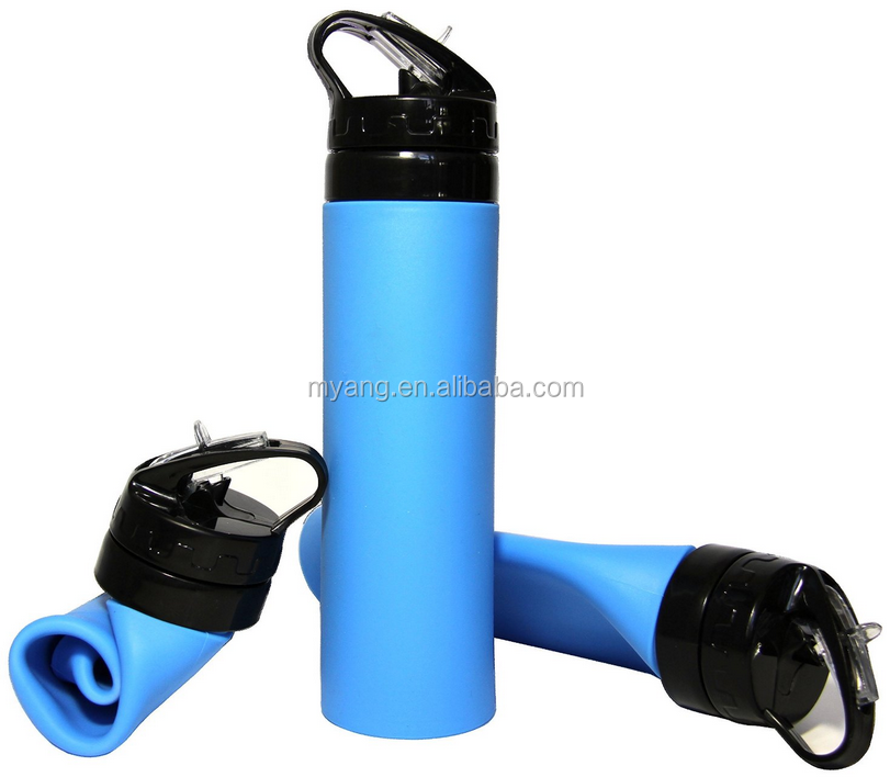 550ml silicone collapsible BPA free water bottle FDA approved Leak & Spill Proof, Freezer and Dishwasher Safe