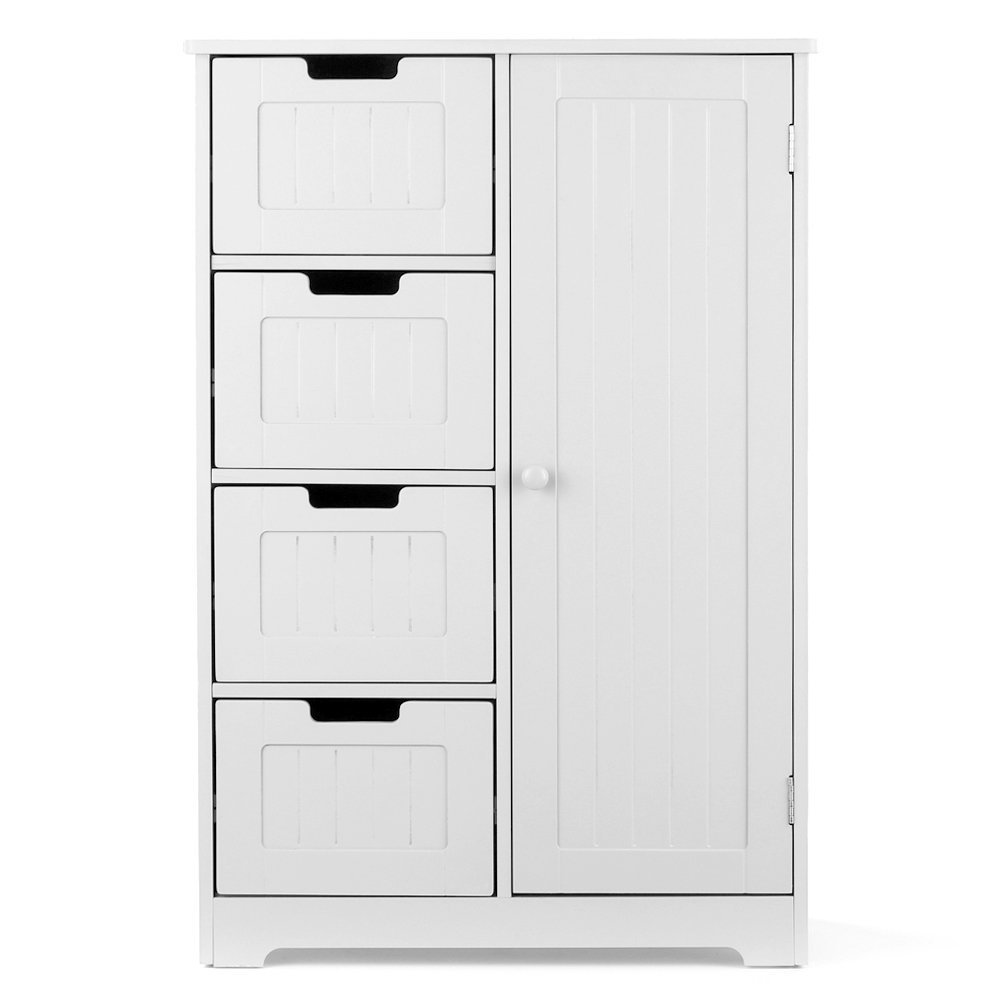 Free Standing Wooden Bathroom furniture Floor Storage <strong>Cabinet</strong> with 4 Drawers, 2 Shelves