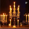 Wholesale Glass Hurricane 5 arms crystal candlestick candelabra for table decorations wedding centerpieces