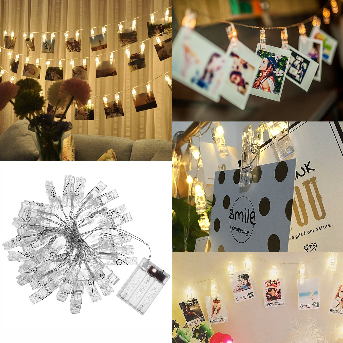 LEDMOMO 30 LED Photo Clip String Lights 13.1 Ft,Warm White Battery Operated for Home/Party/Christmas Decor