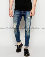 China Wholesales Super Skinny Jeans Tinted With Mega Rip And Repair