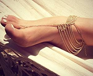 eacff1c5c172 Buy Gold Chain Barefoot Sandals
