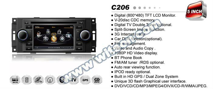 WITSON 5 inch car dvd 2 din JEEP Compass 2007-2010