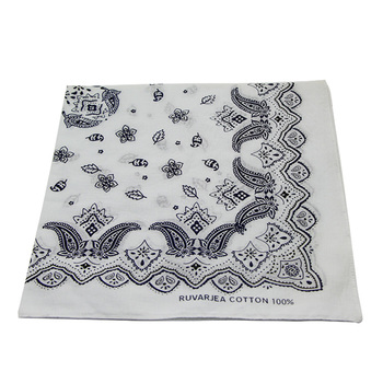 Customized 100 Organic Cotton Fabric Paisley White Black Printed Bandana