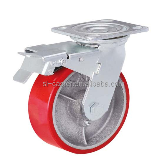 8 inch PU wheel cast iron core swivel locking caster