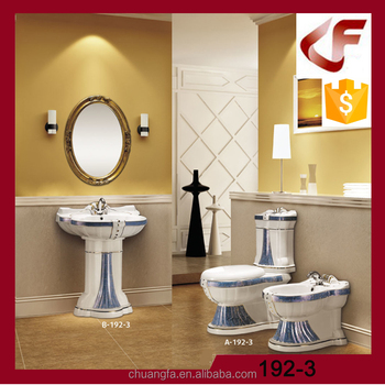Luxury European Wc Toilet With Big Size Pedestal Basin Sets View