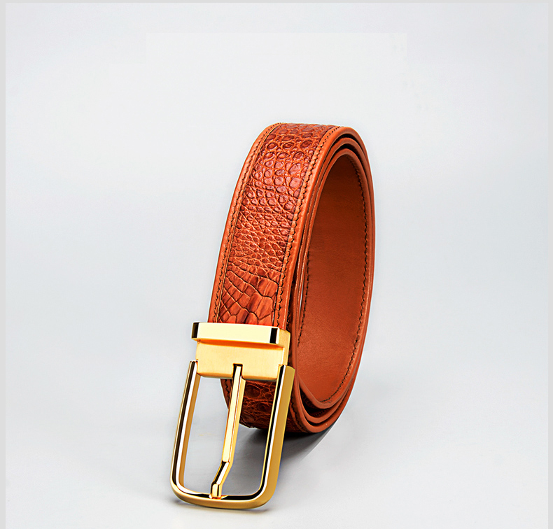 Genuine Crocodile Leather Men Belt With Gold/Sliver Buckle