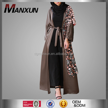 muslim dress for ladies wholesale islamic products lace flowers details open abaya kimono in dubai 2017