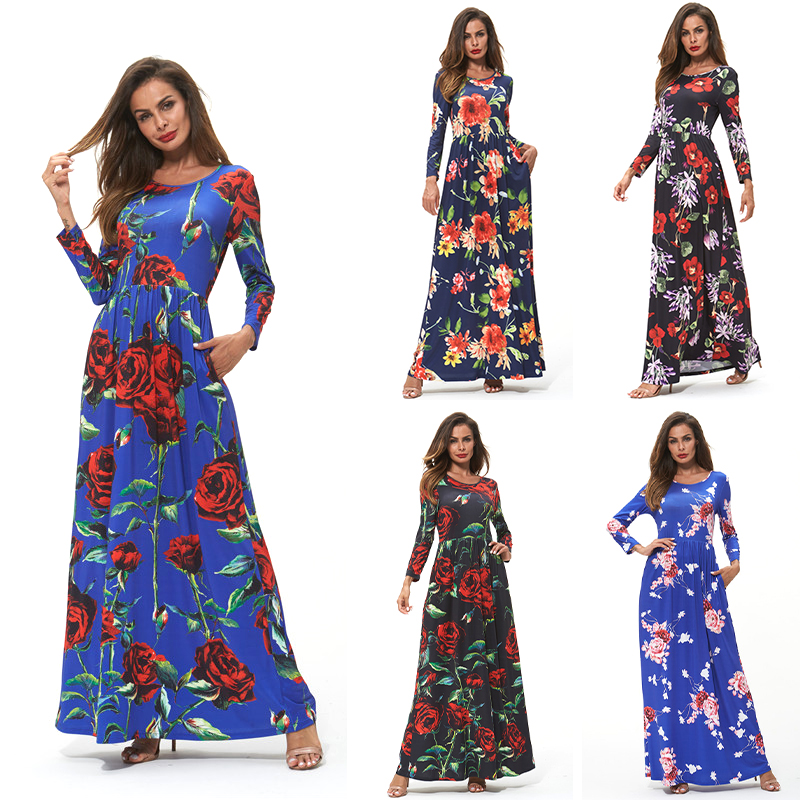 China Factory Wholesale Long Sleeve Mature Women Clothing Plus Size Casual Floral Maxi Dress Black Dresses
