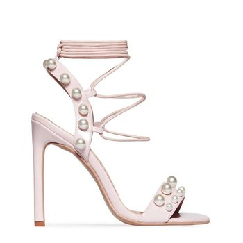 bb6c7df06870 china Lace Up Pearl Detail high heels women In Nude Patent shoes ladies