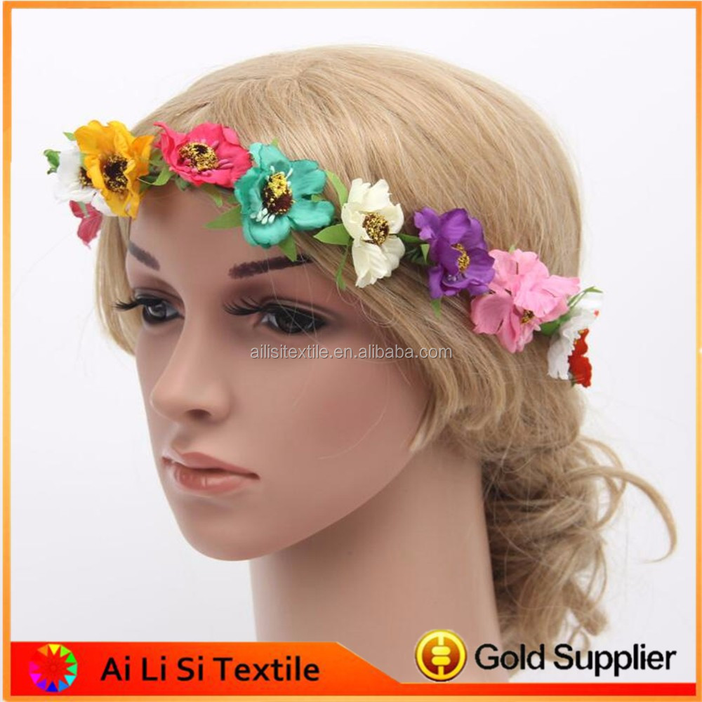24 pcs Flower Boho Fabric Festival Wedding Party Garland Forehead Hair Women.