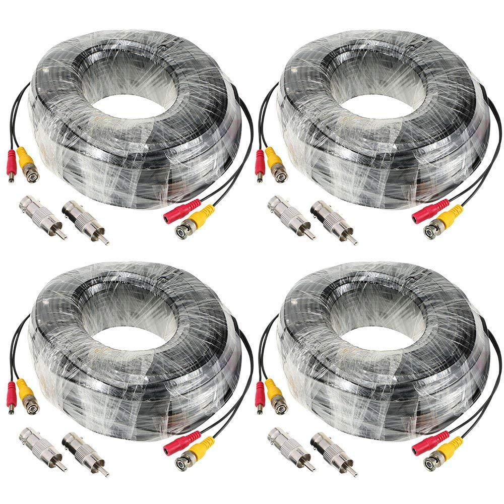(4-pack) Microvisions 32.5ft 10M BNC DC Plug Connector Video Power Siamese Cable CCTV Cable 4pcs/lot for CCTV Camera DVR