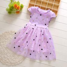 Платье для маленьких девочек, милое летнее Сетчатое платье принцессы с коротким рукавом, а-силуэта, с принтом в виде звезд для девочек, 2020 г. ...(Китай)