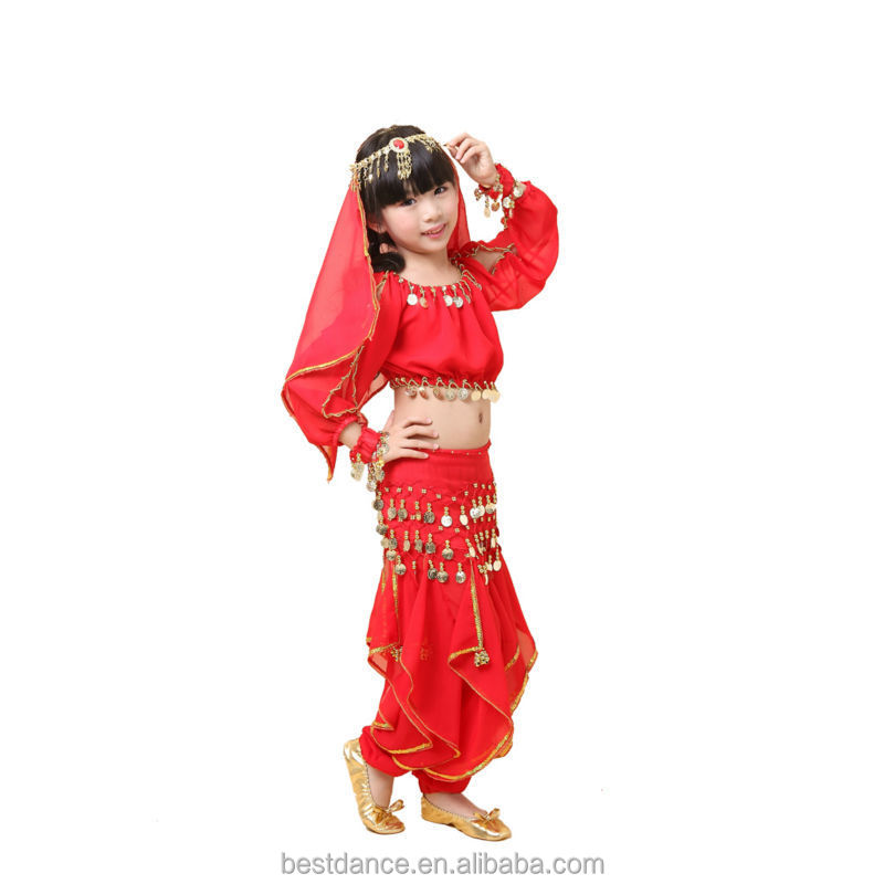 Girls Spanish Dancer Flamenco Fancy Dress Belly Dance Dress Bollywood Costume Q4