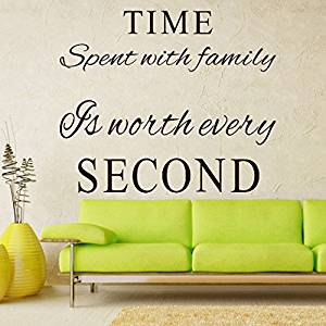 LUCKKYY®Family Wall Decals~Time Spent with Family Is Worth Every Second Wall Decal Quote Home Decor Art Quote Decals Wall Art Stickers Decal Home Decor Decorate