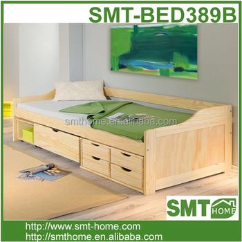 Children Single Bed Frame Wooden Wood Toddler Boys Child Bed