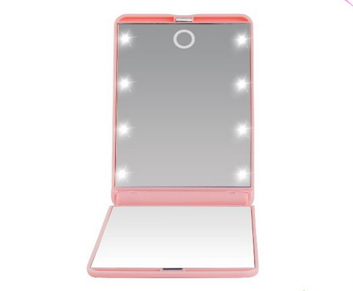 8 LED Makeup Travel Mirrors Mini Portable Folding Compact mirror Cosmetic Make Up Pocket Mirror With 8 LED Light