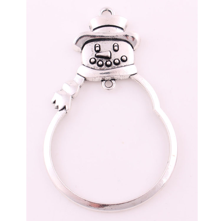IMG 5049 Yiwu Huilin jewelry Hollow Out Metal SnowMan christmas ornament pendant Hang & Gift Boxed wholesale