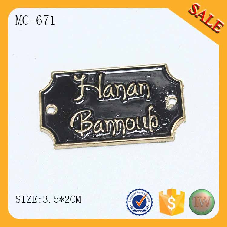 MC671 Private design metal labels and tags for dress by China factory