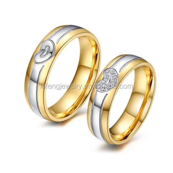 Top Selling Titanium Steel Engraved Couple Ring Finger Rotating Wedding Rings Set