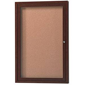 "Aluminum Wall Mounted Enclosed Bulletin Board Frame Color: Walnut Wood, Number of Doors: One, Size: 36"" H x 24"" W"