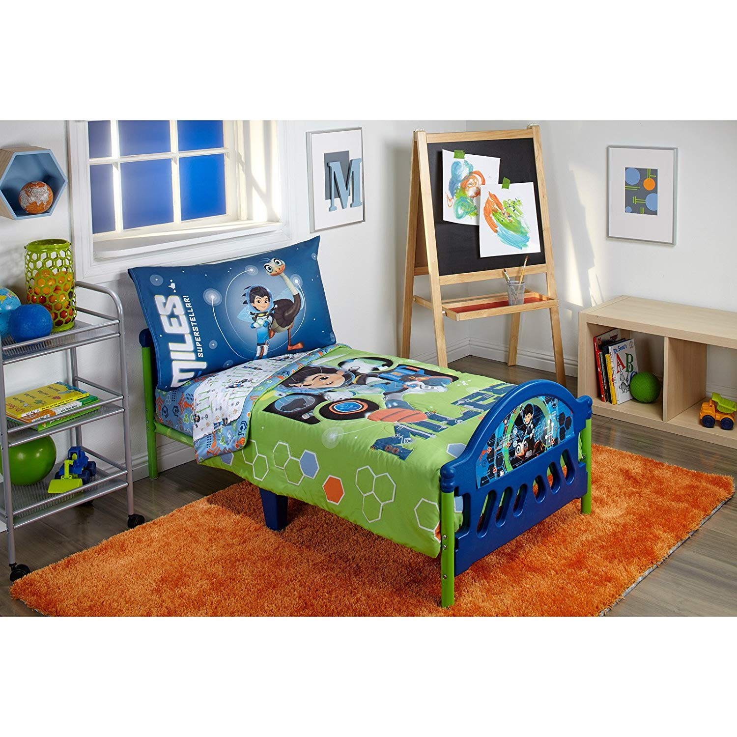 A&L 4 Piece Boys Green Miles from Tomorrowland Toddler Bedding, Blue Robo Ostrich Toddler Bedspread Set Space Adventure Miles Callisto Toddler Set Geometric Hexagon Tv Show Multi Colored, Polyester