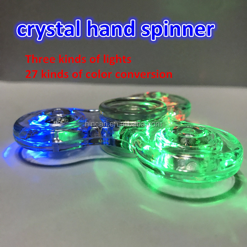 Stress Reducer LED Fidget Spiner for Adults, EDC ADHD Focus Toys LED Fidget Spinner with crystal material