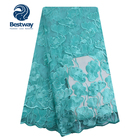Bestway New Arrival African Teal Color Beaded French Net Tulle Lace Fabric FL2107