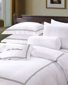 Luxury Hotel Bed Linen Embroidery Bedding 100% Cotton TC300 Percale Sheets Single Size